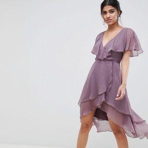 ASOS DESIGN cape back dipped hem mini dress
